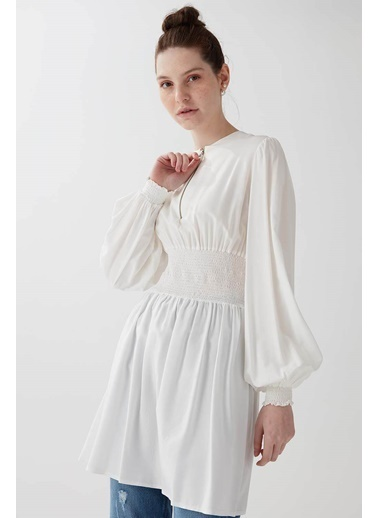 Vivencia Fermuar Detaylı Beli Lastikli Kadın Tunik Beyaz Beyaz